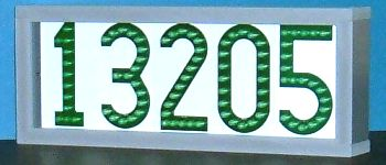 Very green LED house number sign -- LEDress brand