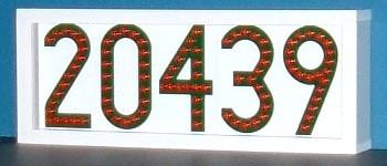 Red LED house number sign -- LEDress brand